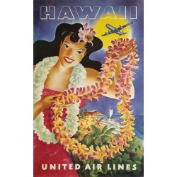 Affiche ancienne originale United Airlines Hawaii Joseph FEHER