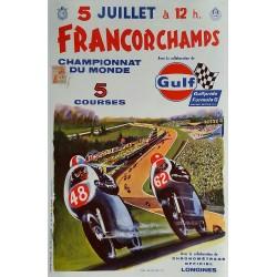 Affiche ancienne originale Spa Francorchamps 5 juillet 1970 Championnat monde moto