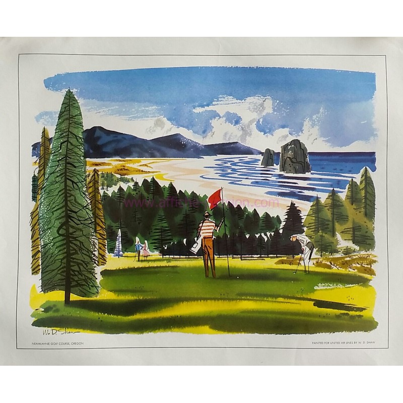 Original vintage poster Neahkahnie Golf course Oregon painted for United Airlines - W D SHAW