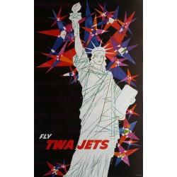 Affiche ancienne originale TWA NEW YORK Statue liberté David KLEIN