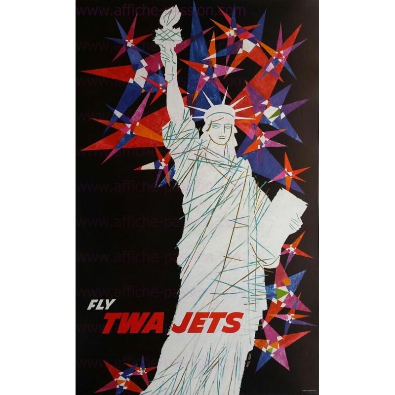 Original vintage poster TWA NEW YORK liberty statue David KLEIN