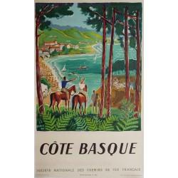 Affiche ancienne originale Côte Basque 1950 Hervé BAILLE