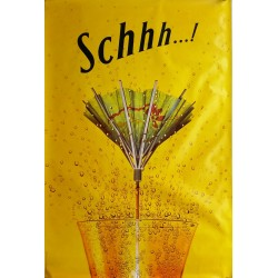 Original poster Schweppes Schhh umbrella 67 x 45 inches