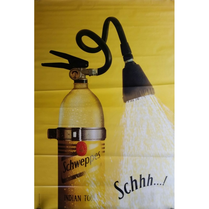 Original poster Schweppes Schhh extinguisher 67 x 45 inches