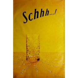 Original poster Schweppes Schhh glass and drops 67 x 45 inches