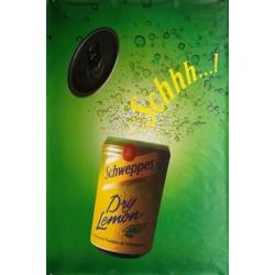 Affiche originale Schweppes Schhh dry lemon 170 cms x 115 cms