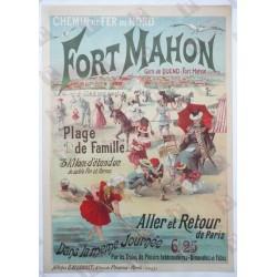 Affiche originale Fort Mahon Plage de famille Chemin de fer du Nord - Raphael BOUTILLIE