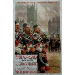 Affiche originale Paris à Londres Dieppe & Newhaven Chemin de fer de l'ouest et de Brighton - Maurice TOUSSAINT