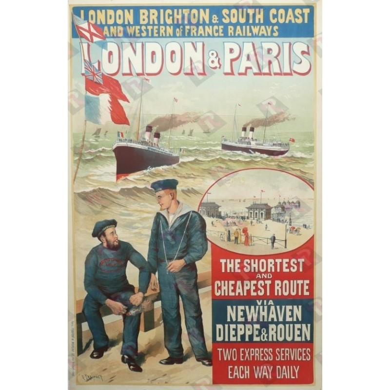 Original vintage poster London & Paris the shortest and cheapest route via Newhaven Dieppe & Rouen