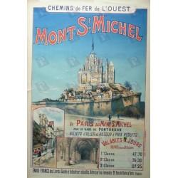 Affiche originale Mont St Michel Chemin de fer de l'ouest - Gustave FRAIPONT