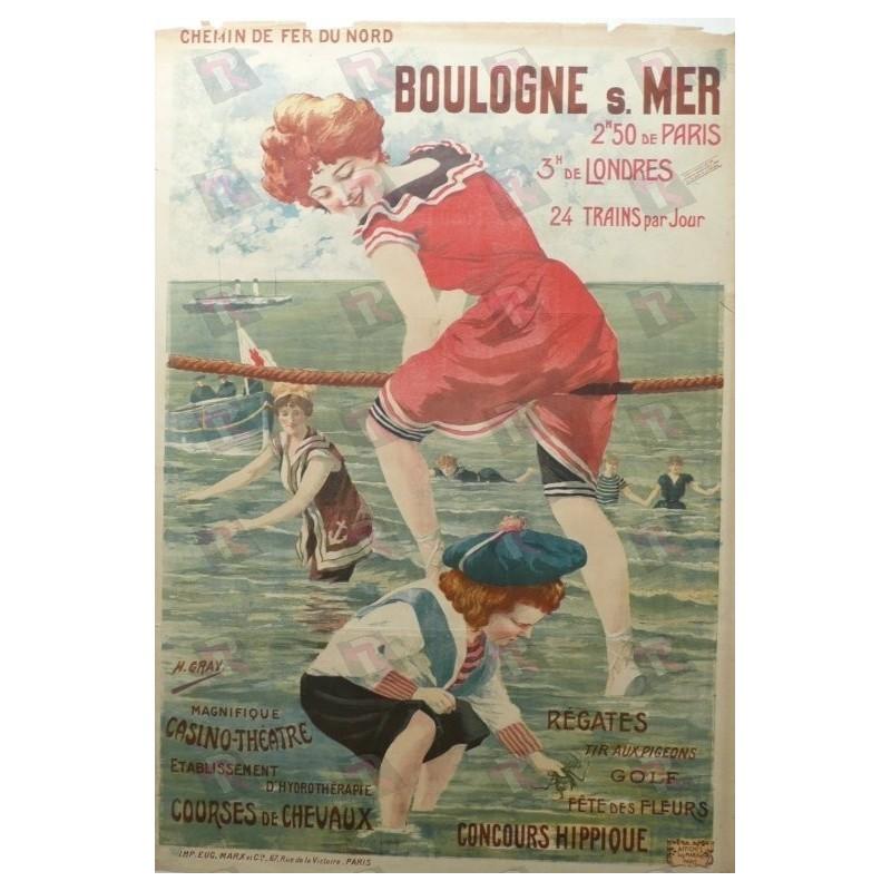 Original vintage poster Boulogne sur Mer Chemin de fer du Nord - Henri GRAY