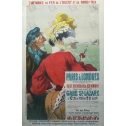 Affiche originale Paris à Londres - Rouen Dieppe et Newhaven - René PEAN