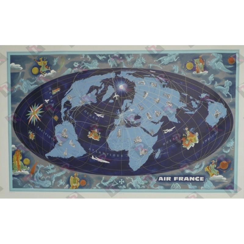 Affiche originale Air France Planisphère mappemonde et zodiaque bleue - Lucien BOUCHER