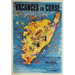 Affiche ancienne originale Vacances en Corse