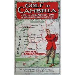 Affiche ancienne originale golf Travel by th cambrian railways - Golf in Cambria  - Cardigan bay
