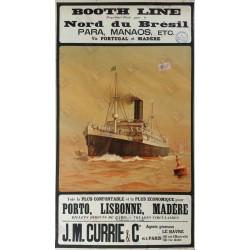 Affiche ancienne originale Booth Line Brésil via Le HAVRE 1905 - Norman WILKINSON
