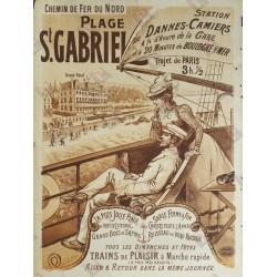 Affiche ancienne originale Plage St Gabriel Chemin de fer du Nord