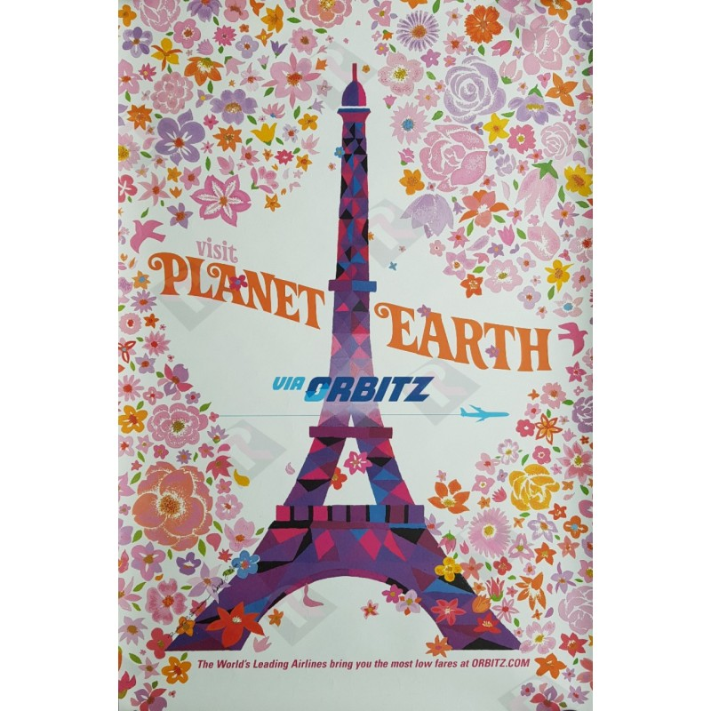 Original travel poster Visit Planet Earth via ORBITZ Paris Eiffel tower - David Klein - Robert Swanson