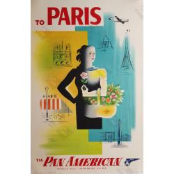 Affiche ancienne originale To PARIS via Pan American Jean CARLU