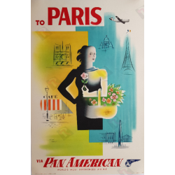 Original vintage poster To PARIS via Pan American Jean CARLU