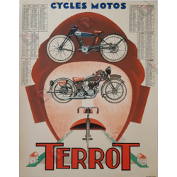 Affiche ancienne originale cycles motos Terrot calendrier 1934