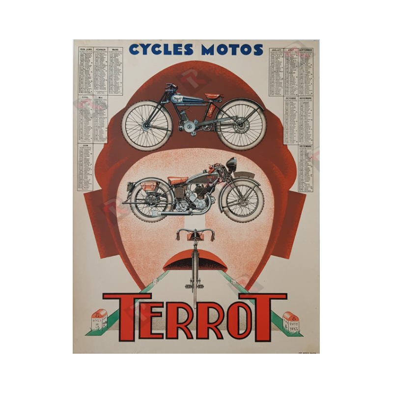 Original vintage motorcycle poster cycles motos Terrot calendar 1934
