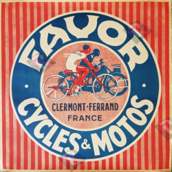 Affiche ancienne originale Favor Cycles et Motos Pruniere