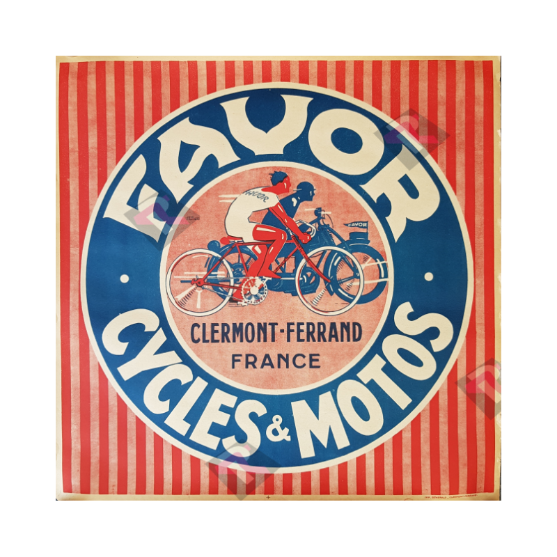 Original vintage motorcycle poster Favor Cycles et Motos Pruniere