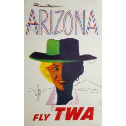 Affiche acienne originale Fly TWA Arizona Austin BRIGGS