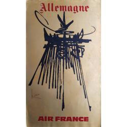 Affiche ancienne originale Air France Allemagne - Georges MATHIEU