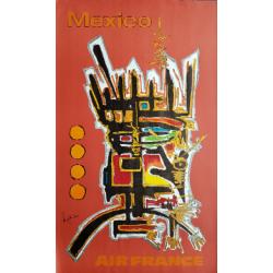 Affiche ancienne originale Air France Mexico - Georges MATHIEU