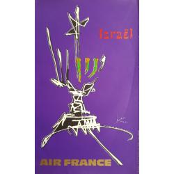Affiche ancienne originale Air France Israel - Georges MATHIEU