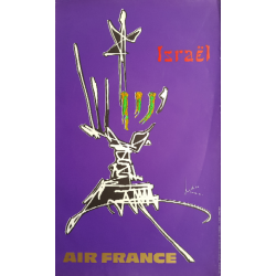 Original vintage poster Air France Israel - Georges MATHIEU