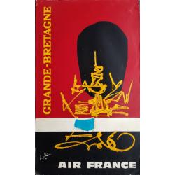 Affiche ancienne originale Air France Grande Bretagne - Georges MATHIEU