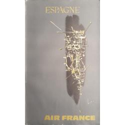 Affiche ancienne originale Air France Espagne - Georges MATHIEU