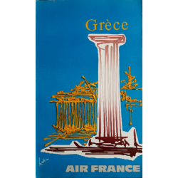 Affiche ancienne originale Air France Grèce - Georges MATHIEU