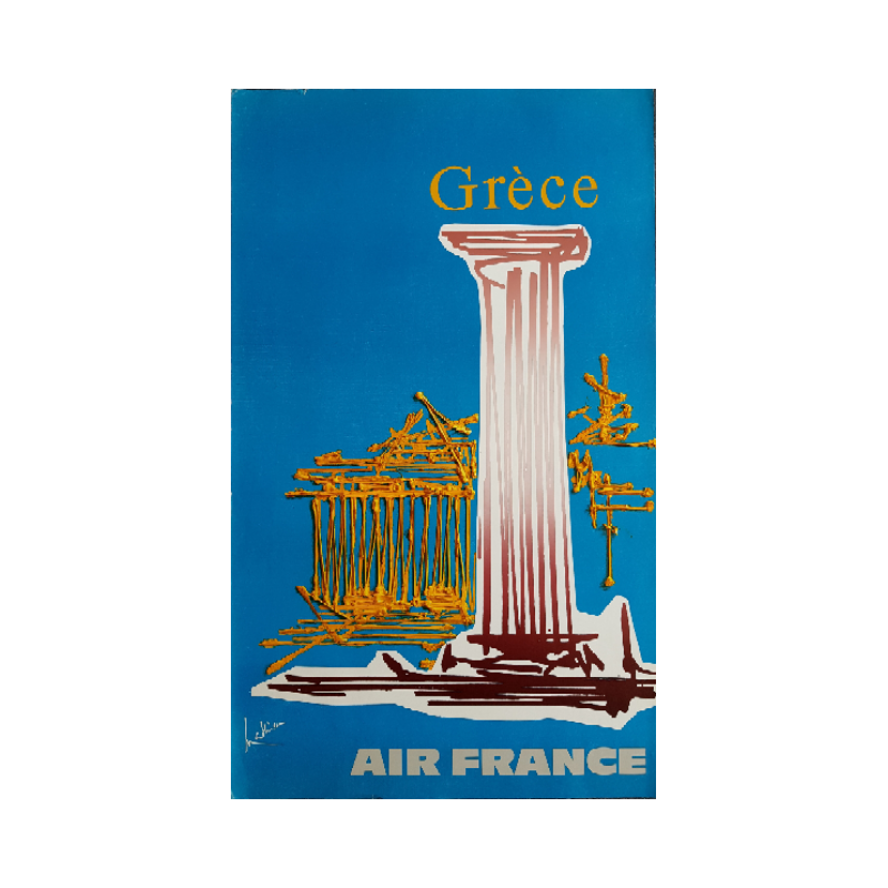 Original vintage poster Air France Grèce - Georges MATHIEU