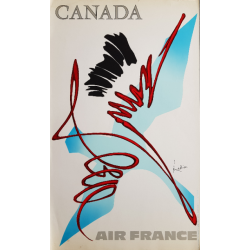 Affiche ancienne originale Air France Canada - Georges MATHIEU