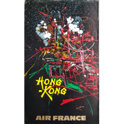 Affiche ancienne originale Air France Hong-Kong - Georges MATHIEU