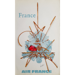 Affiche ancienne originale Air France France - Georges MATHIEU