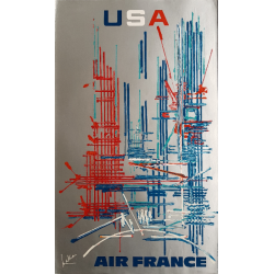 Original vintage poster Air France USA - Georges MATHIEU