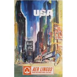 Original vintage poster AER Lingus USA New-York Time Square