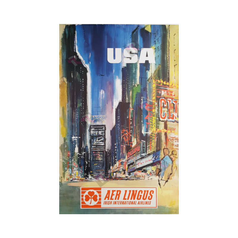 Affiche ancienne originale AER Lingus USA New-York Time Square