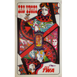 Affiche ancienne originale Fly TWA Las Vegas Queen card David Klein
