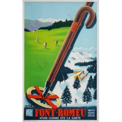 Affiche ancienne originale Font-Romeu 1800m SNCF Ski Golf
