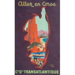 Affiche ancienne originale Allez en Corse CGT Edouard COLLIN