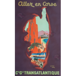 Original vintage poster Allez en Corse CGT Edouard COLLIN