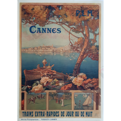 Original vintage poster Cannes Trains extra rapides Robaudy