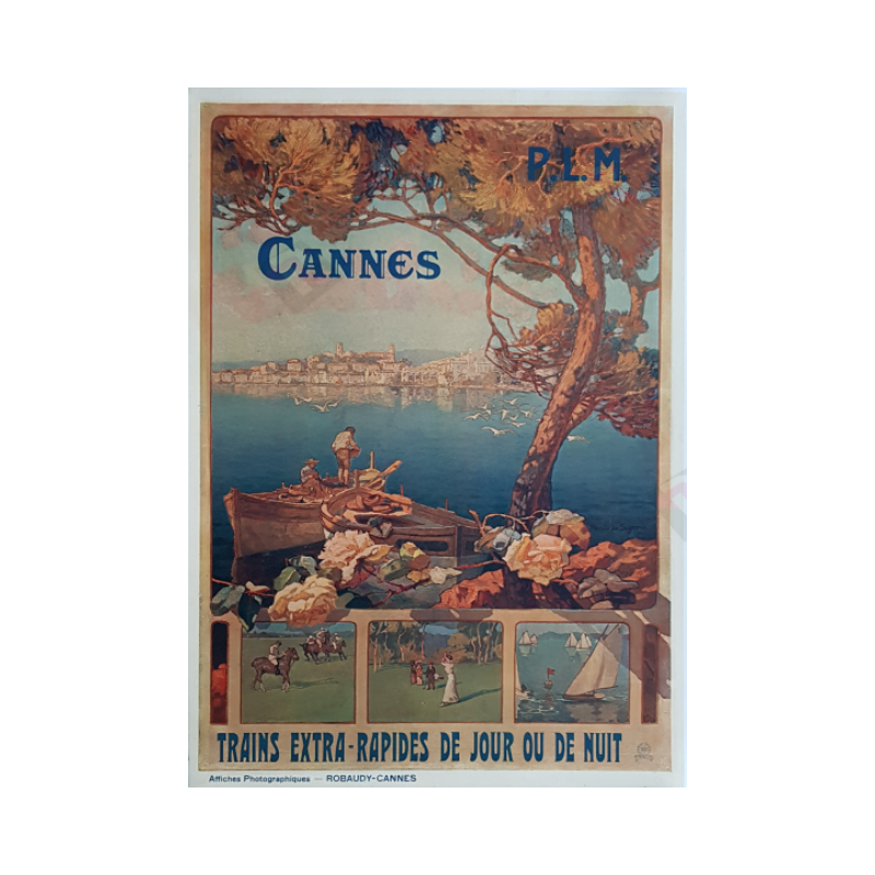Affiche ancienne originale Cannes Trains extra rapides Robaudy