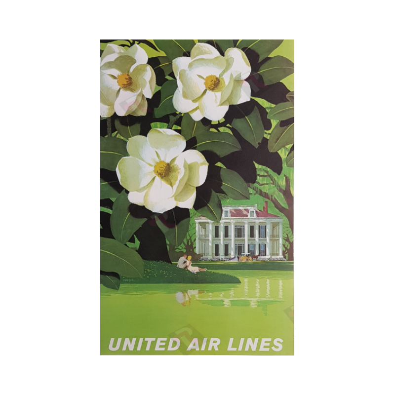 Affiche ancienne originale United Airlines New Orleans Stan GALLI